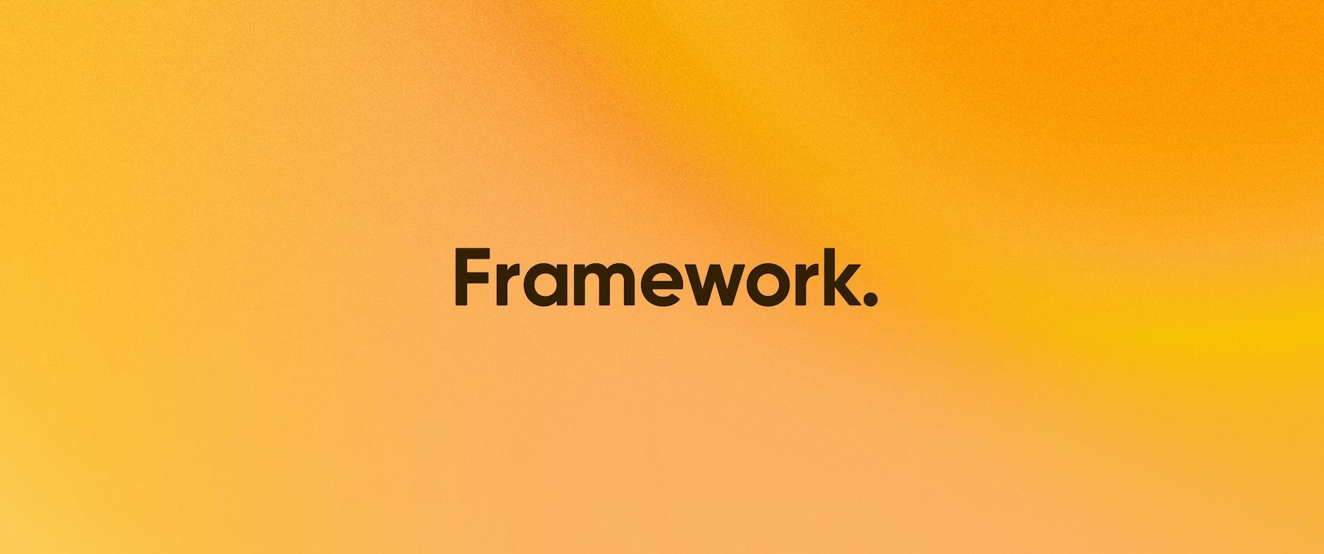 The Framework logo on an orange background