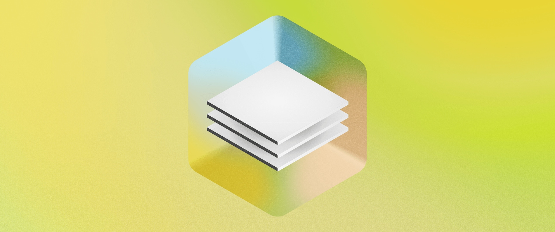 A conceptual illustration showing a 3D version of Sketch's Data icon floating in a box, on a green background