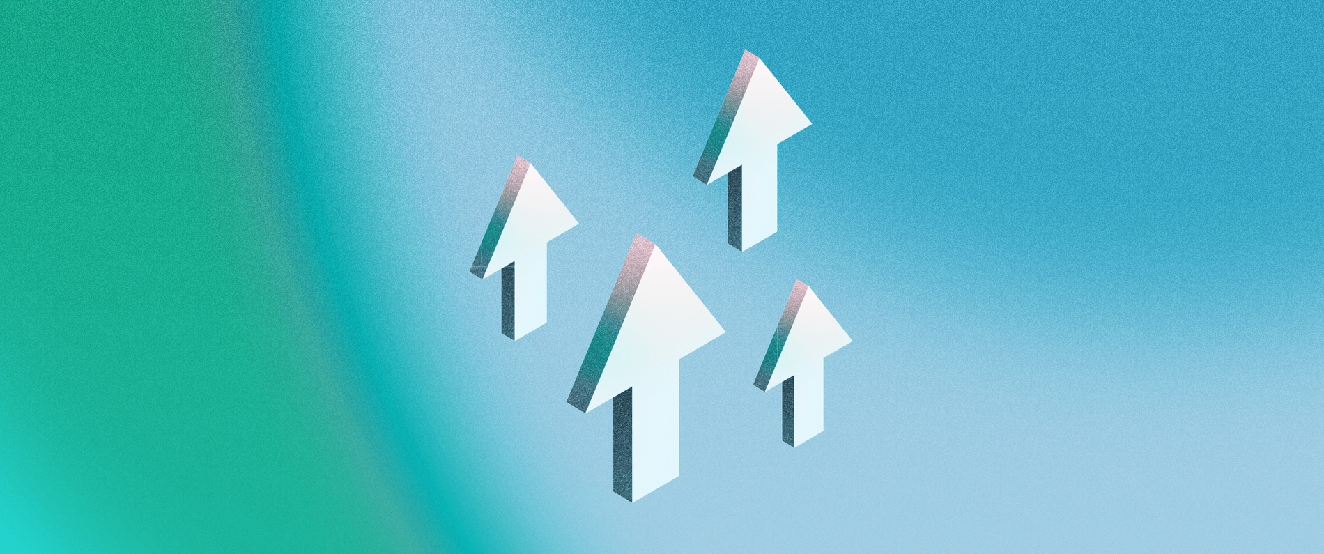 A 3D illustration of arrows pointing upwards around a 3D cloud, on a blue background.