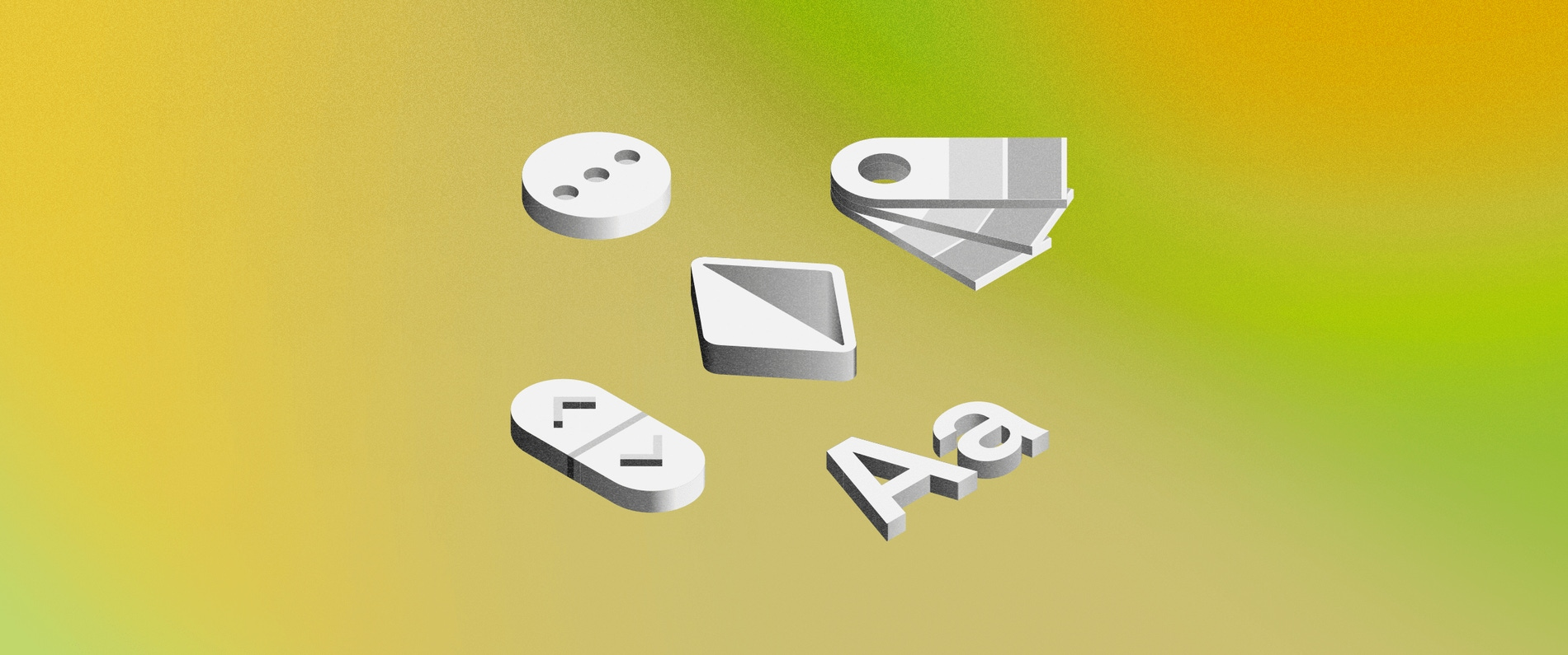 An illustration showing different isometric icons on a green background
