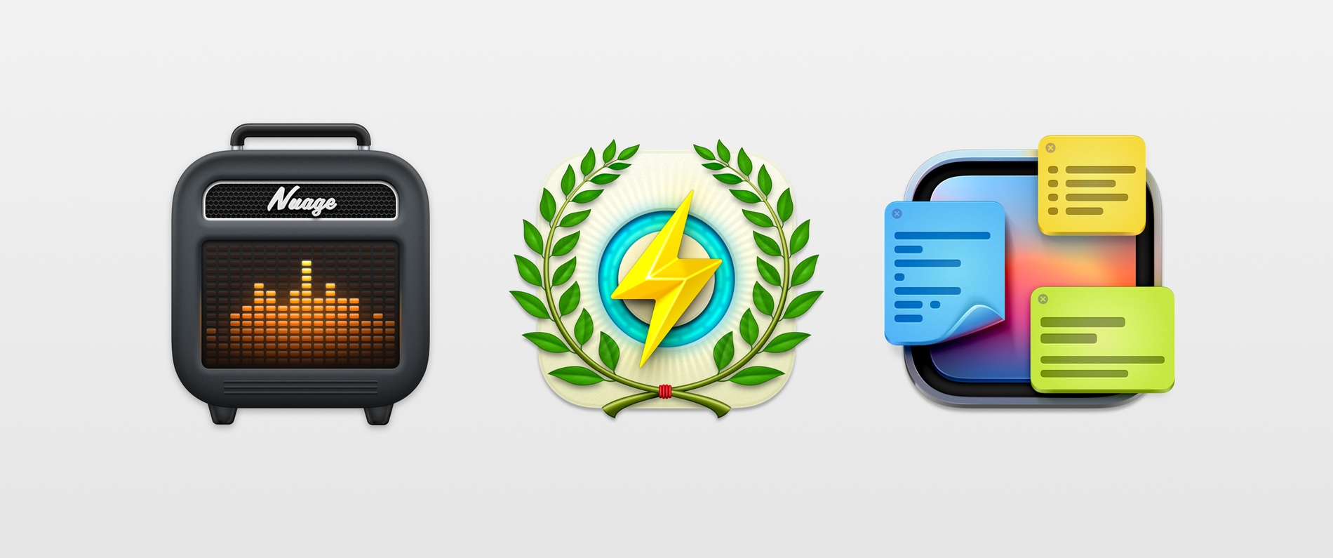 Header image featuring three icons designed by Yannick Lung.